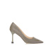 Pantofi stiletto cu finisaj stralucitor in ton argintiu