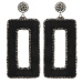 Crystal stud faux fur embellished drop earrings