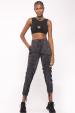 Pantaloni satinati cu detalii ajustabile