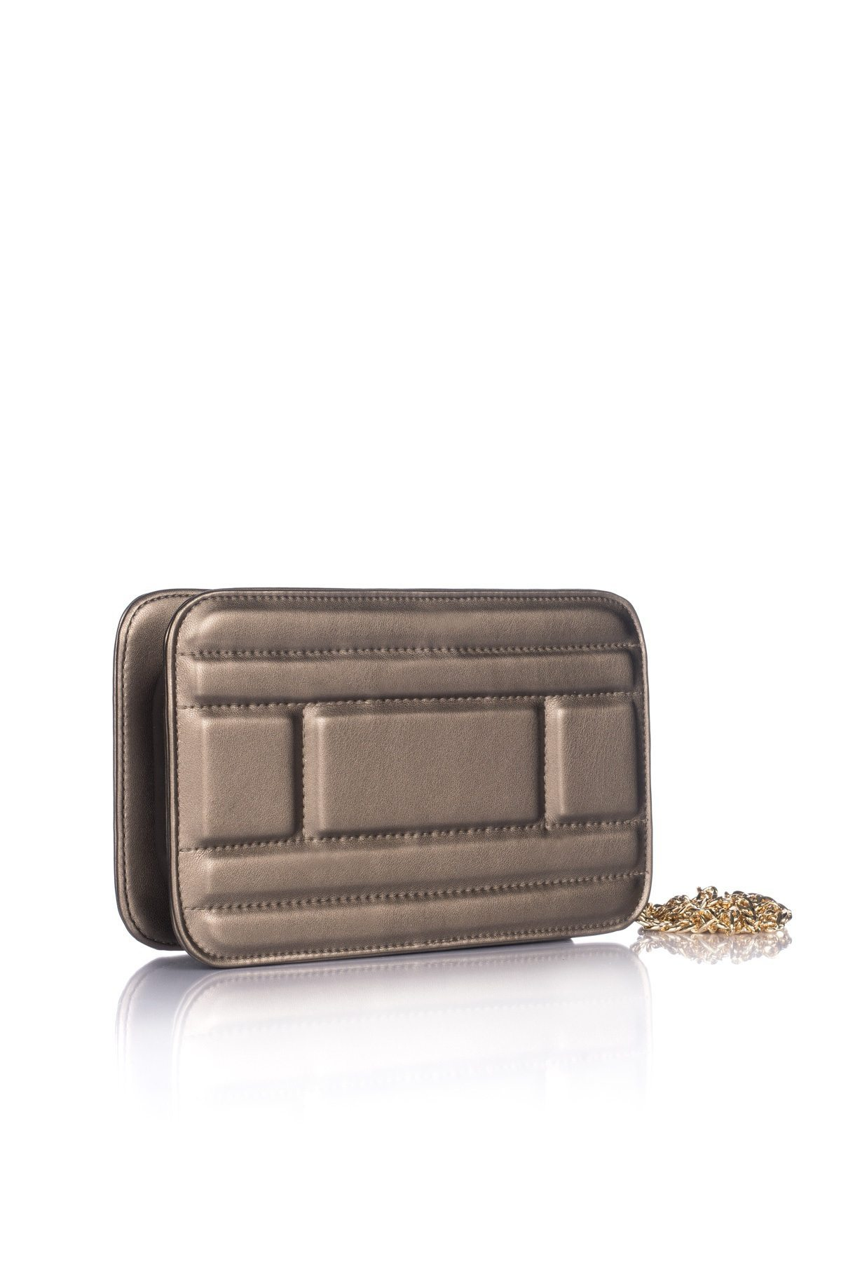 Elegant Clutch With Golden Chain Expl1217 Nissa Fashion Brown Front View Back
