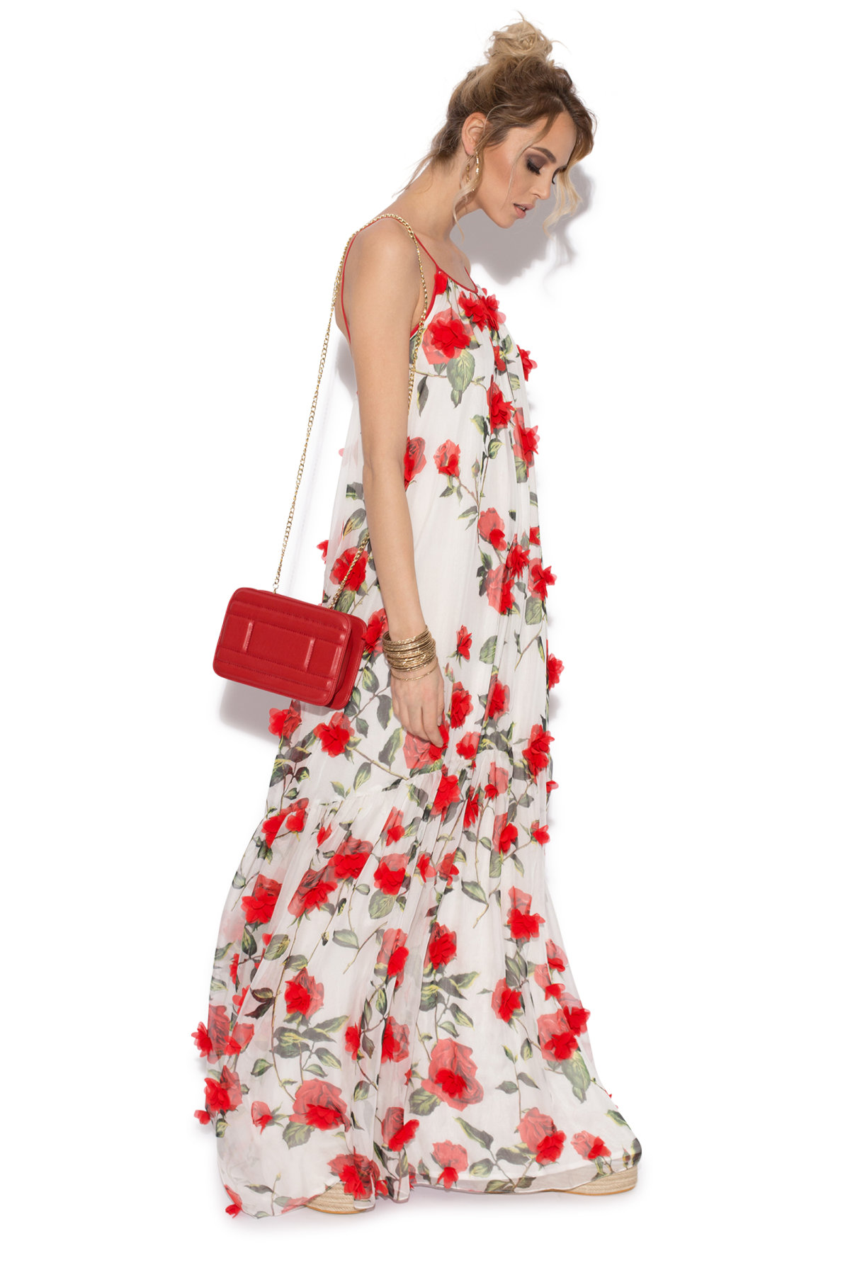 White maxi 3d floral details dress rc8613 nissa front view mightylinksfo