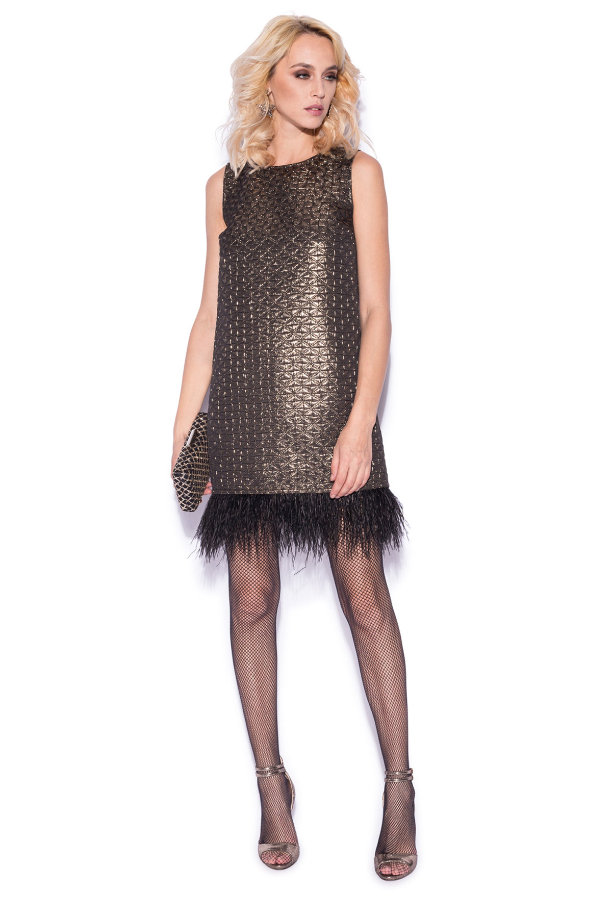 Evening dress with feather detail   rs8930   NISSA