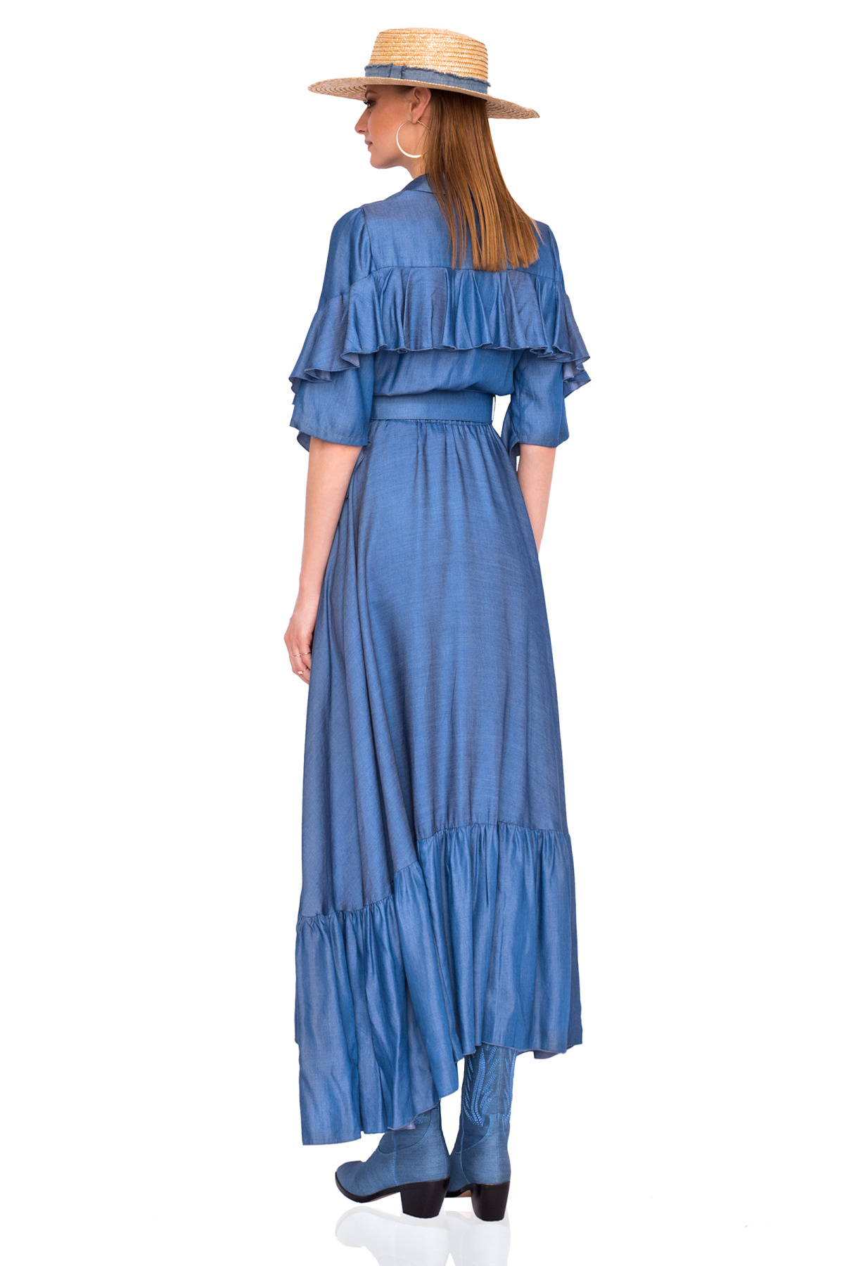b9d7f7f4d0 Denim dress with ruffled sleeves