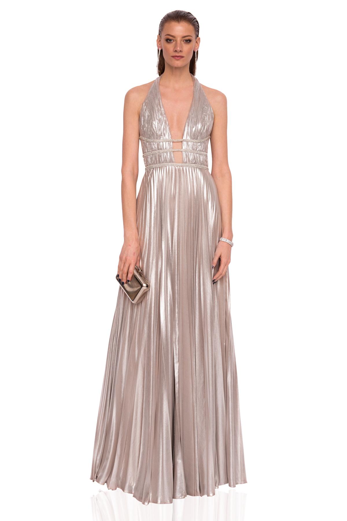 913d591ae64 Silver pleated dress with deep cut neckline | rs9628 | NISSA