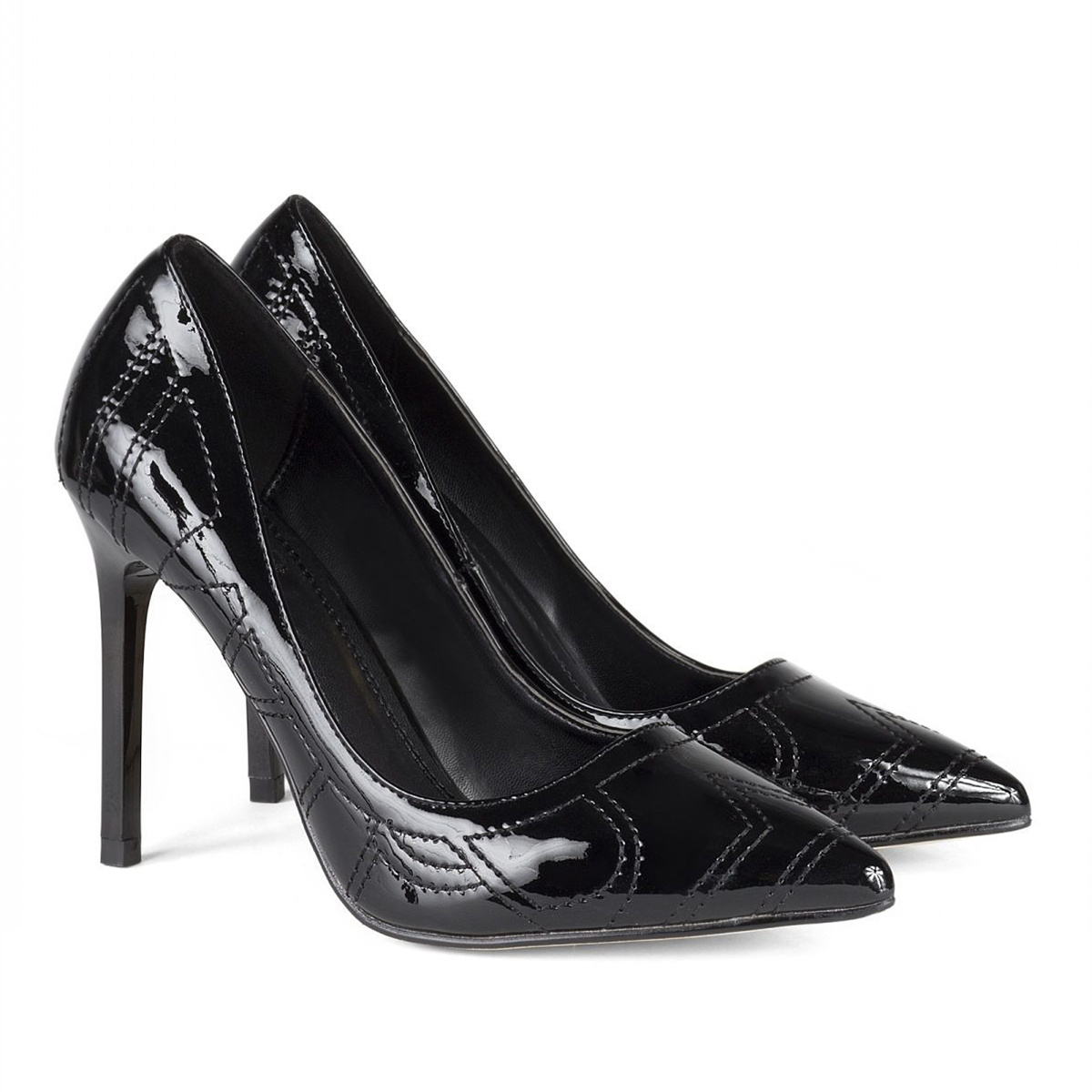 Black stilettos with shiny texture