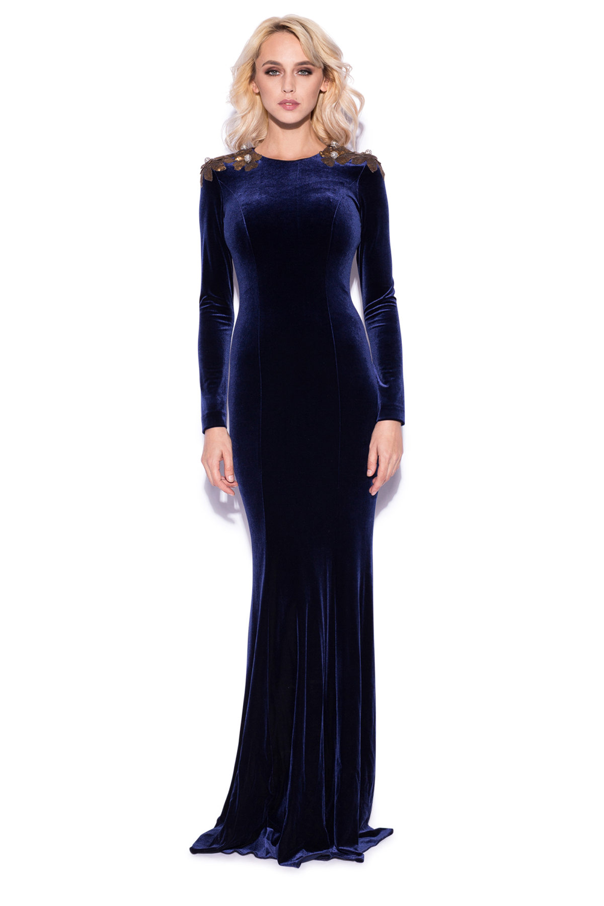 f940fafc4f5 Velvet maxi dress with gold sequins